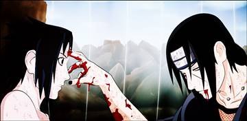 Itachi-touches-forehead-Sasuke